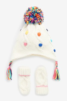 Ecru Knitted Trapper Hat And Mittens Set (3mths-6yrs)