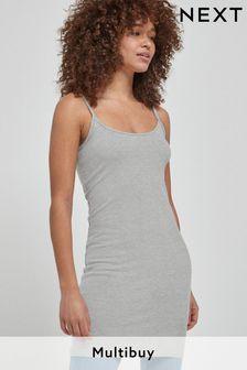 Grey Marl Longline Thin Strap Vest