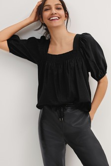 Black Square Neck Puff Sleeve Top