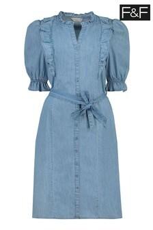 F&F Blue Washed Denim Midi Belted Dress