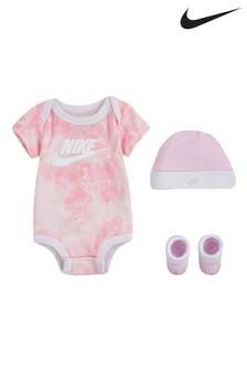 Nike Baby Pink Tie Dye Hat, Vest And Bootie Set