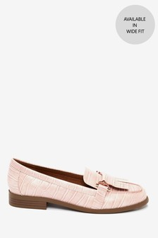 Pink Croc Effect Hardware Loafers