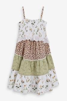 Ecru Mix Print Sleeveless Tiered Dress (3mths-7yrs)