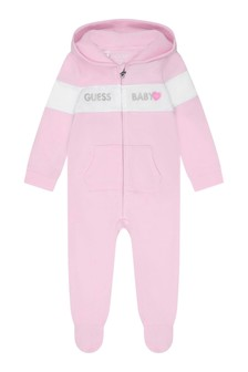 Baby Girls Pink Cotton Logo Coverall