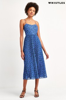 Whistles Blue Kinetic Pleated Dress