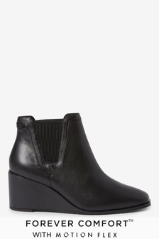 Black Forever Comfort® With Motion Flex Wedge Heel Ankle Boots