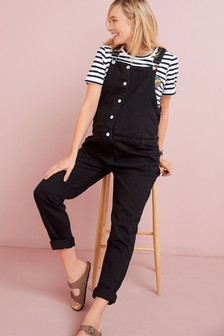Black Maternity/Nursing Denim Button Front Jumpsuit
