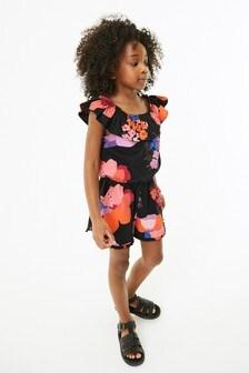 Black Floral Bardot Playsuit (3-16yrs)