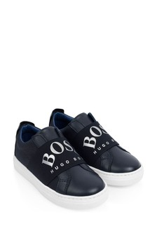 Boys Navy Leather Slip-On Trainers
