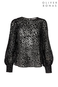 Oliver Bonas Black Leopard Print Textured Top