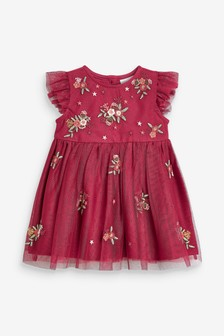 Red Floral Embroidered Baby Girls Dress