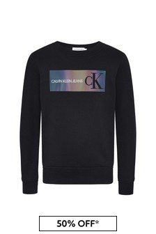 Boys Black Cotton Sweat Top