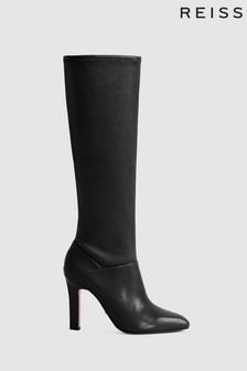 Reiss Black Cressida Leather Knee High Boots