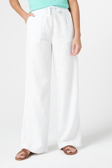 White Linen Blend Wide Leg Trousers
