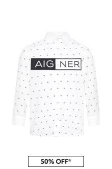 قميص قطن أبيضأولادي منAigner