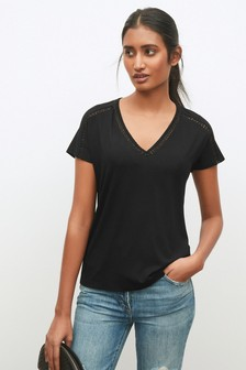 Black Lace Insert Short Sleeve T-Shirt