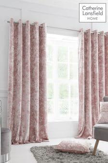 Catherine Lansfield Blush Crushed Velvet Eyelet Curtains