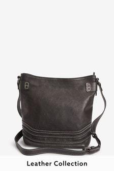 Black Leather Stitch Bucket Bag
