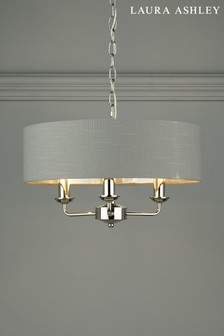 Laura Ashley Charcoal Sorrento 3 Light Armed Ceiling Fitting