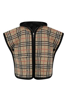 Baby Girls Beige Vintage Check Wool Poncho
