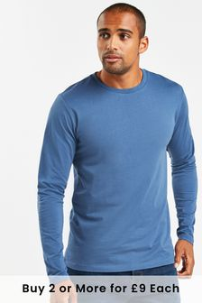 Denim Blue Regular Fit Long Sleeve Crew Neck T-Shirt