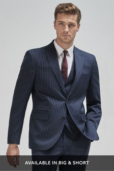 Blue Tailored Fit Stripe Suit: Jacket