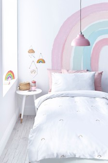 Embroidered Rainbow Duvet Cover and Pillowcase Set