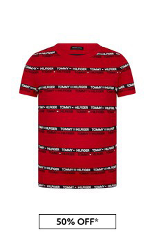 Tommy Hilfiger Boys Red Cotton T-Shirt