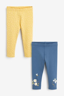 Navy/Ochre 2 Pack Organic Cotton Embroidered Butterfly Leggings (3mths-7yrs)