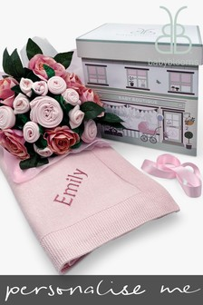 Babyblooms Luxury Pink Baby Clothes Bouquet And Personalised Baby Blanket