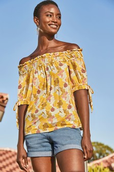 Ochre Floral Ruched Bardot Top