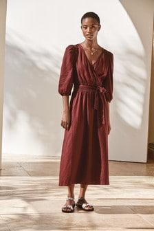 Chocolate Linen Blend Wrap Dress