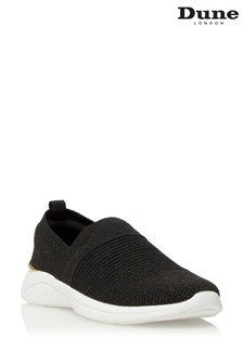 Dune London Black Eiley Woven Slip-On Trainers