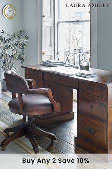 Dark Chestnut Garrat Dark Chestnut 7 Drawer Desk by Laura Ashley