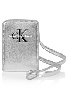 Calvin Klein Jeans Girls Metallic Silver Logo Pouch Bag
