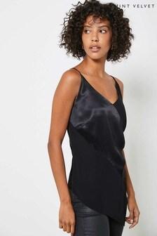 Mint Velvet Black Asymmetric Satined Cami