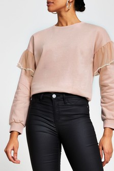 River Island Pink Medium Pearl Flute Sleeve Sweater