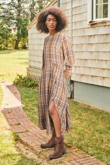 Blush Check Midi Dress