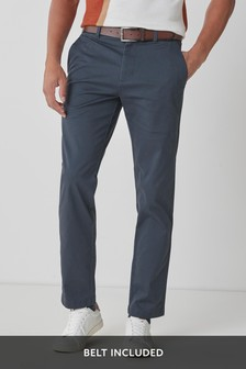 Navy Straight Fit Belted Geo Print Chino Trousers