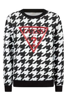 Girls Black/White Cotton Houndstooth Sweater