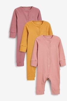 Pink Rib Sleepsuits 3 Pack (0-2yrs)