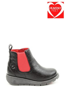 Heavenly Feet Black Junior Girls Ankle Boots