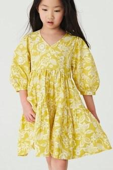 Yellow Floral Wrap Dress (3-16yrs)