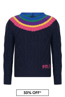Girls Navy Cotton & Wool Sweater