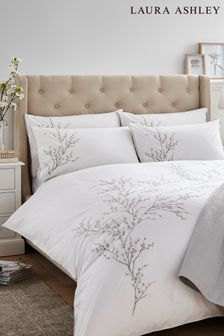 Laura Ashley Pussy Willow Sprig Embroidered Duvet Cover And Pillowcase Set