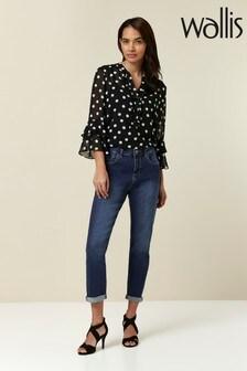 Wallis Mid Wash Multistitch Scarlet Jeans
