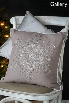 Sparkling Snowflake Embroided Cushion by Gallery Direct
