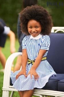 Ralph Lauren Blue And White Logo Stripe Dress