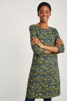 Seasalt Tall Green Print Makers Brushed Poppies Dress