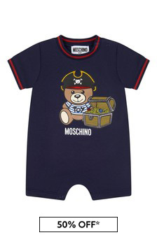 Baby Boys Navy Cotton Romper Gift Set